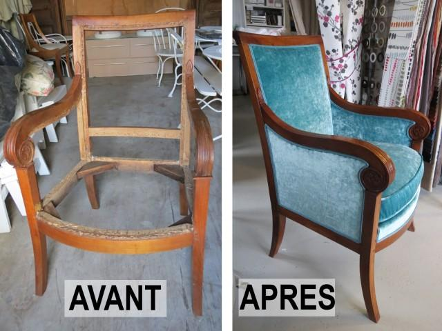 artisan tapissier pour des fauteuils tout neufs à Bois-Colombes